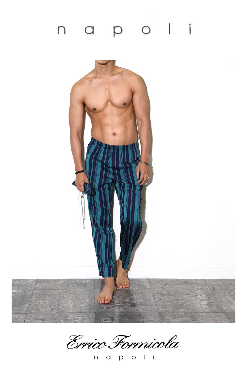 ERRICO FORMICOLA PAJAMAS PANTS-BLUE GREEN