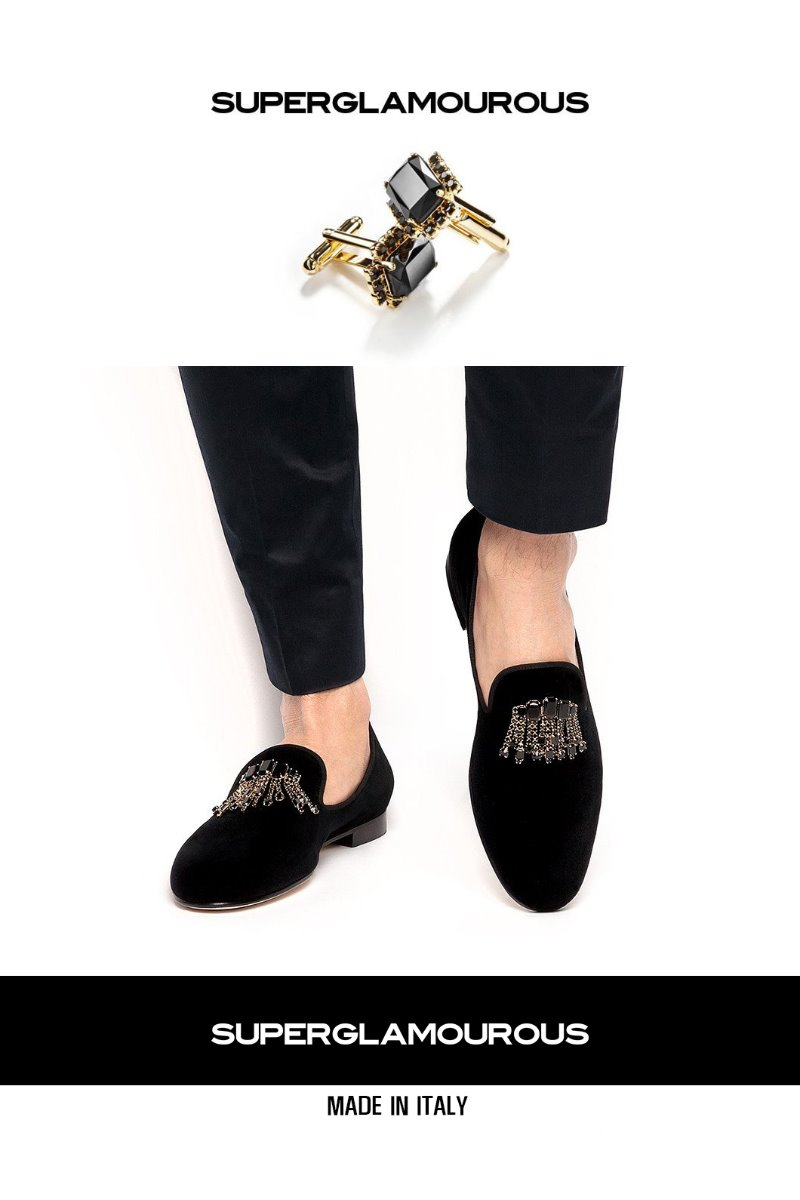 CRYSTAL BROOCH VELOUR SLIPPERS-BLACK