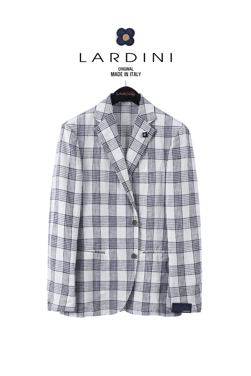 LARDINI Check Single Jacket - White