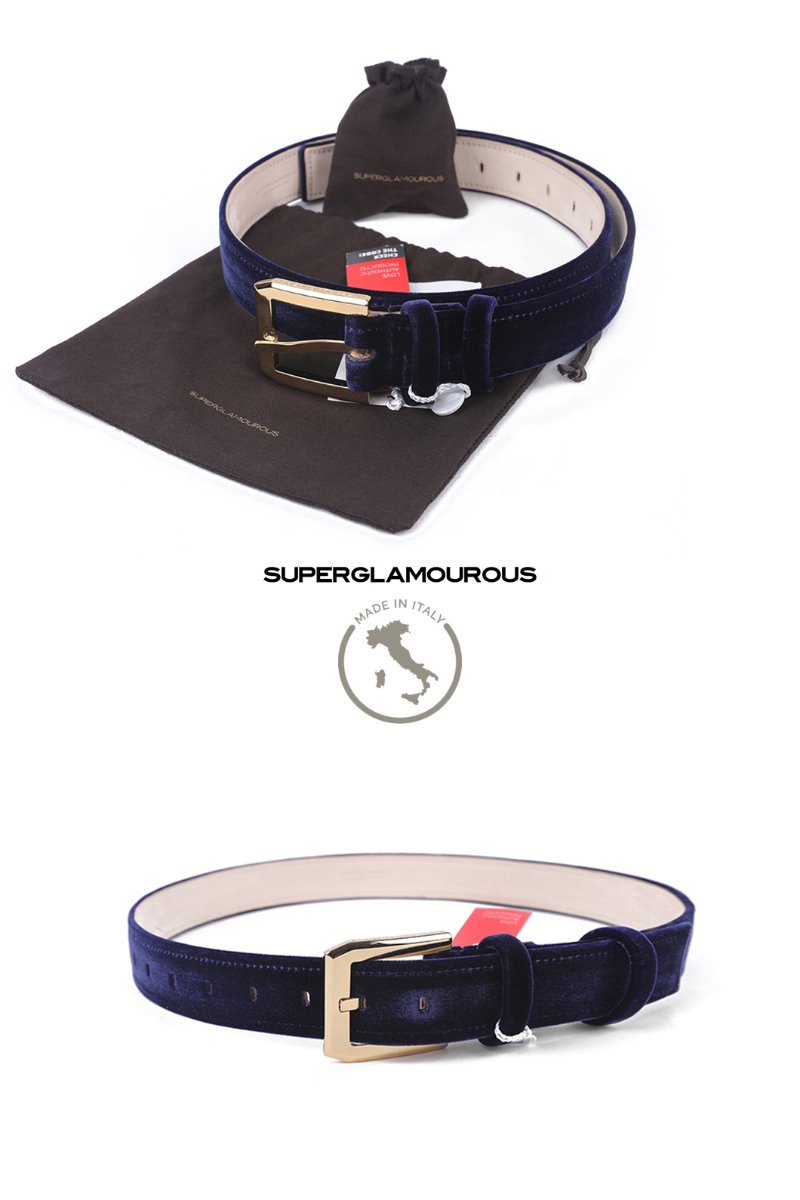 Vie Golden Buckle Velluto Belt-Navy2/3이상 판매완료!