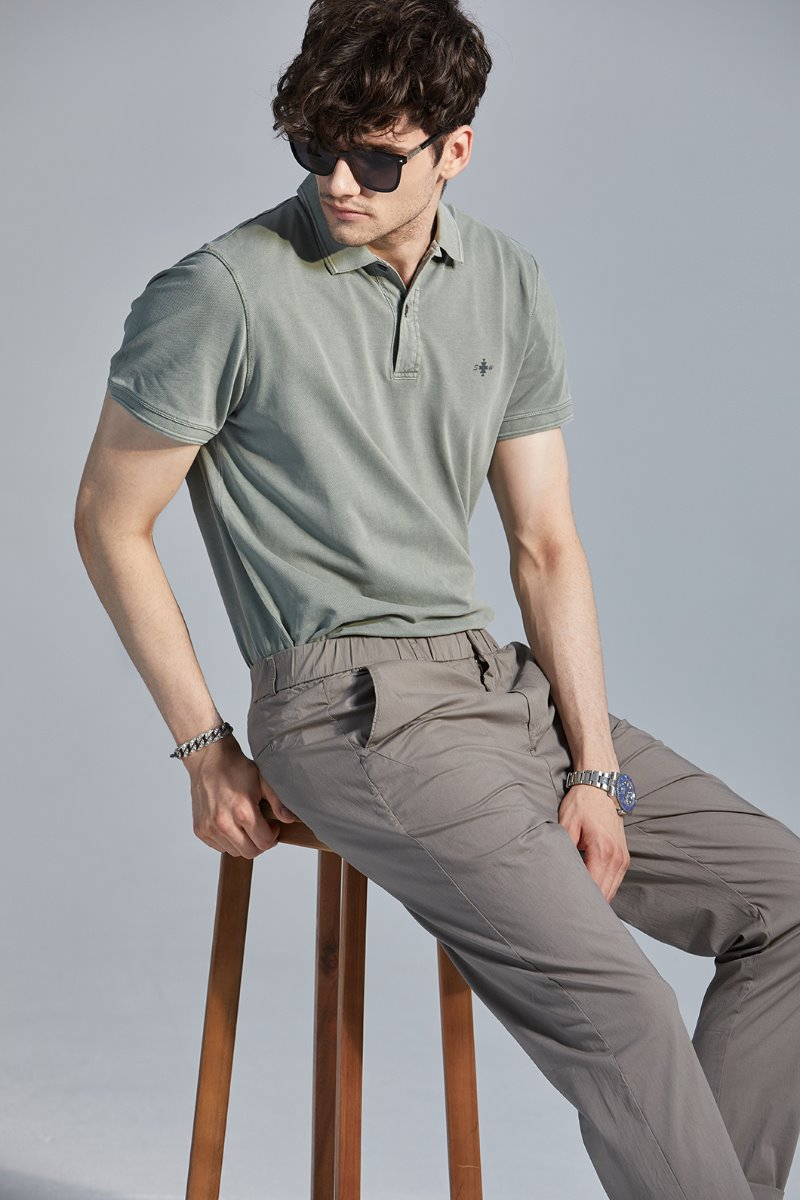 SW130115 COLLAR T-SHIRTS-OLIVE GREEN