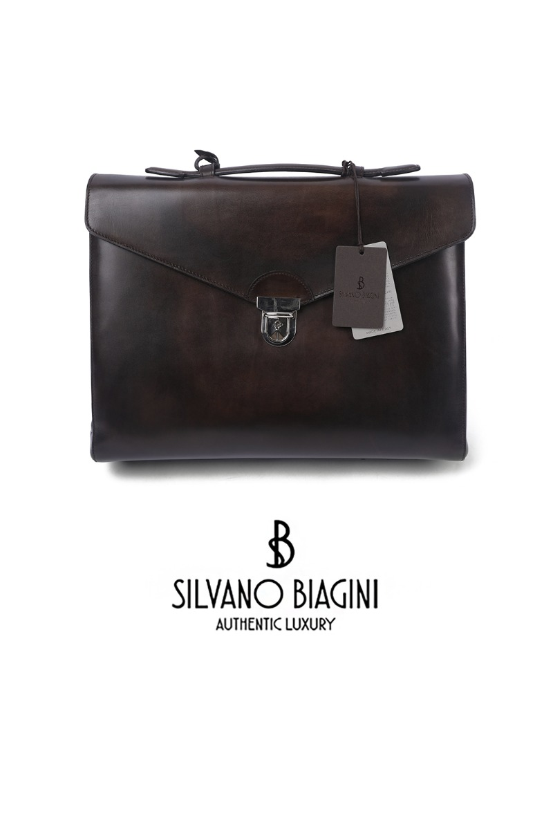 SILVANO BIAGINI LINEA PATIN BRIEF CASE-DARK BROWN