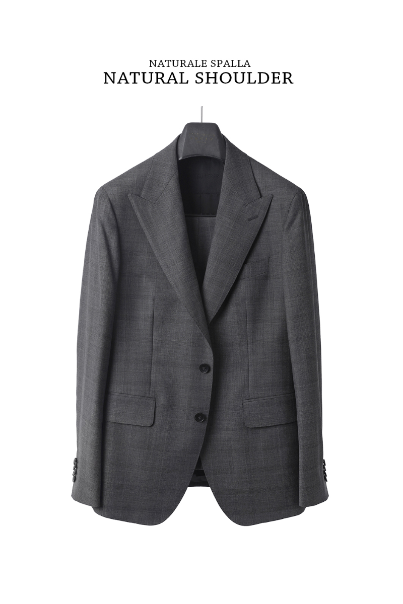 523 VALT ITALY CHECK SUIT-NATURALE SPALLA