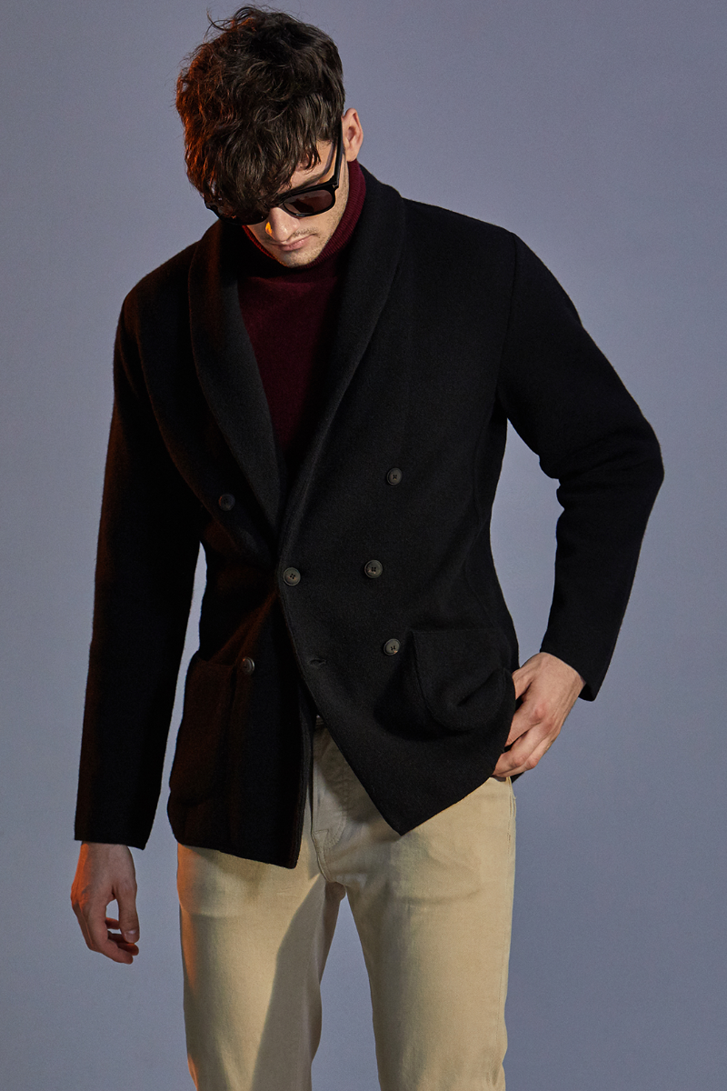 LARDINI SHAWL COLLAR KNIT DOUBLE JACKET-BLACK