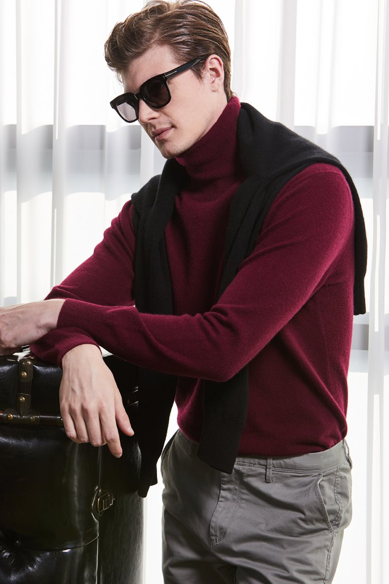 549 Pure Cashmere 100% Turtleneck-Gorgeous Burgundy한정수량