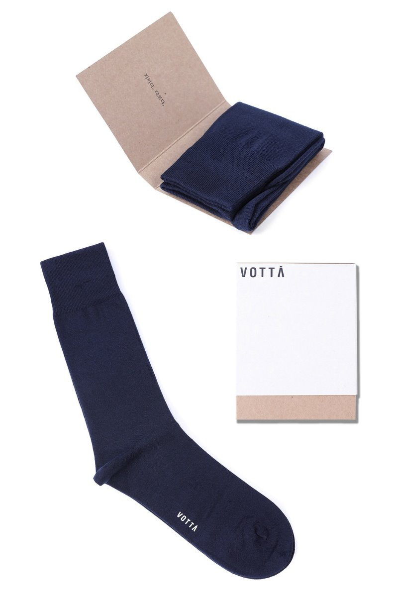 Solid blazer socks-Navy