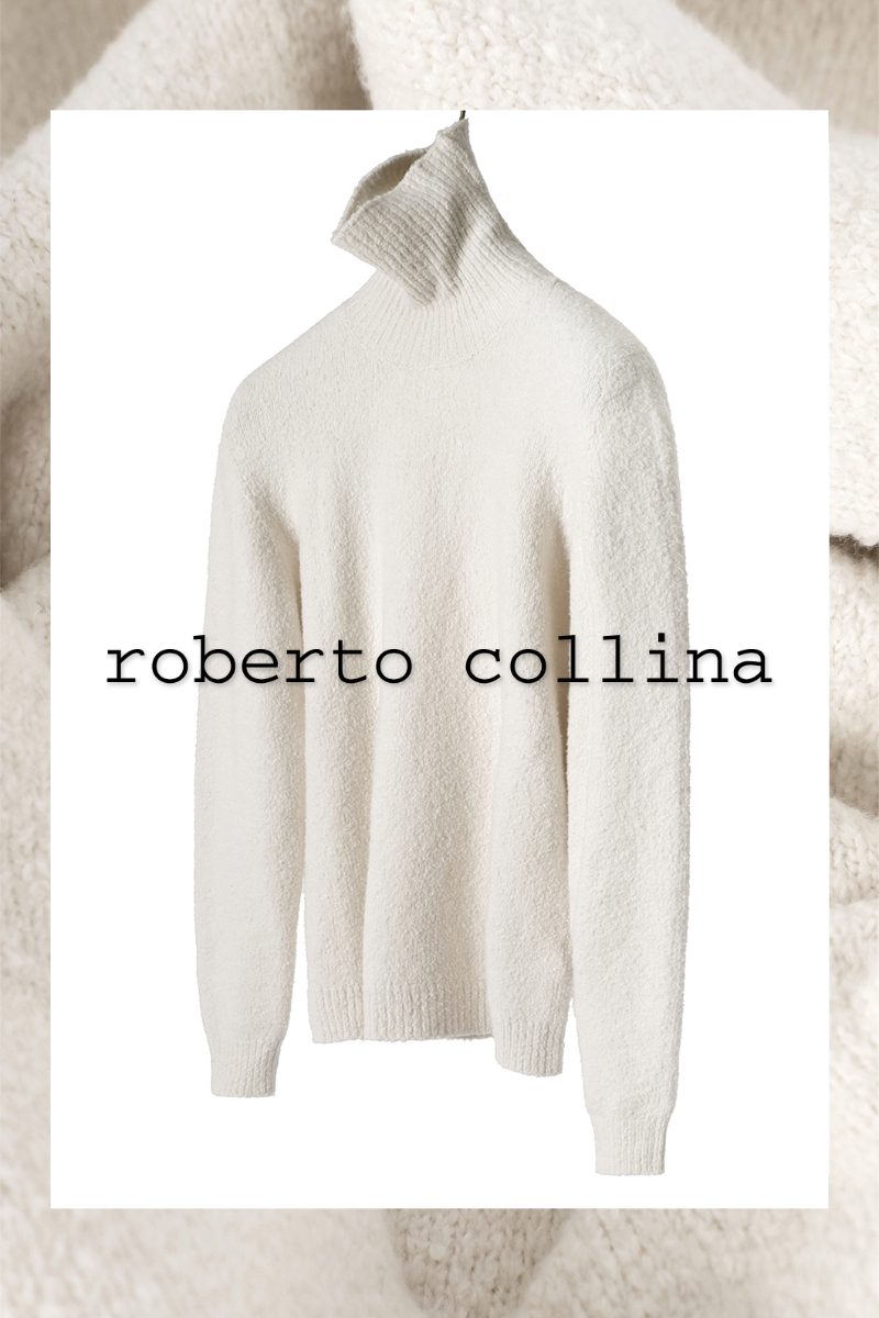 ROBERTO COLLINA Soft Boucle Turtle Neck Knit-White(Ivory)