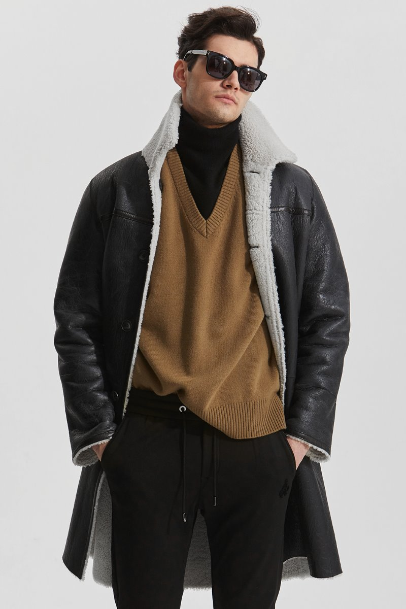 Merino Averon 17 Nappa Antique Mustang Coat-Black양면 무스탕-소량 한정모델