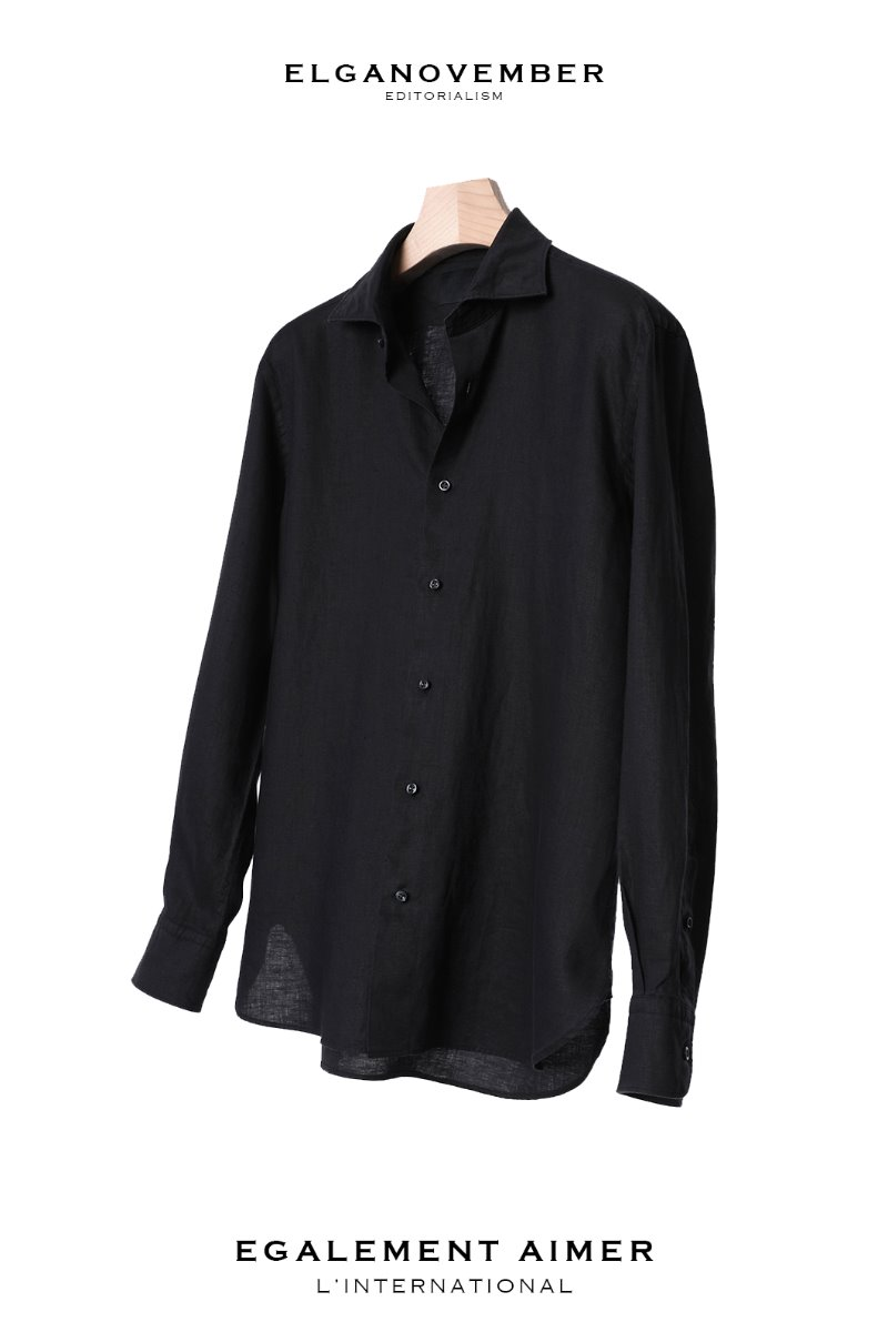 495 FRENCH LINEN SHIRT-BLACK