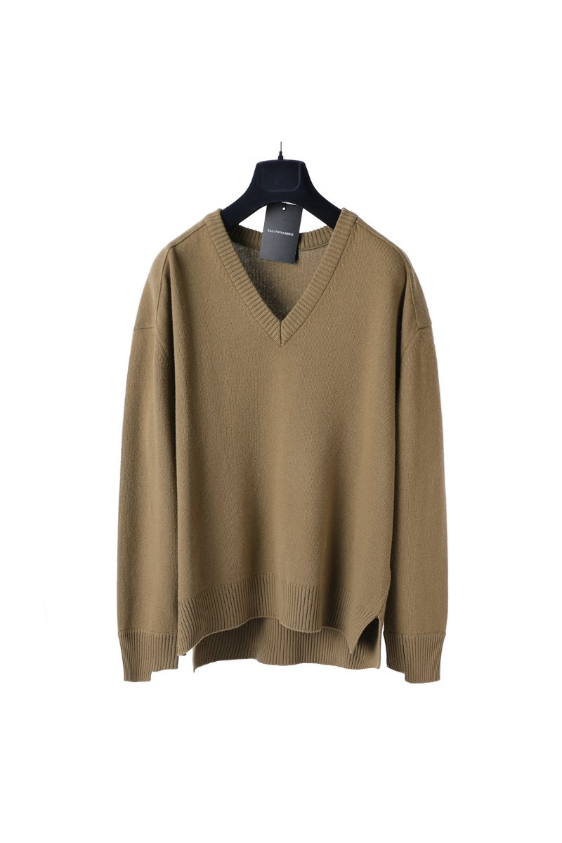 Wool 100% Unbalanced Cuff Over Vneck Sweater- Camel
