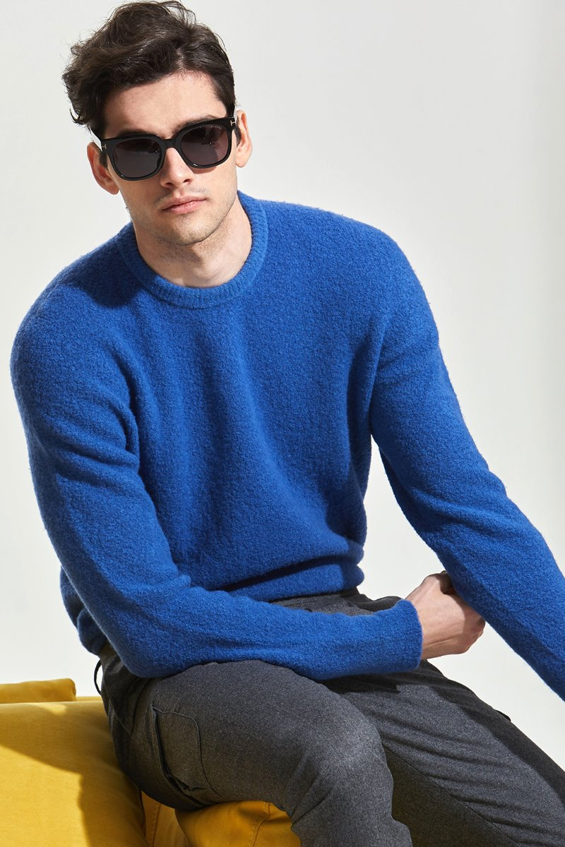 ROBERTO COLLINA Soft Boucle Round Neck Knit-Blue