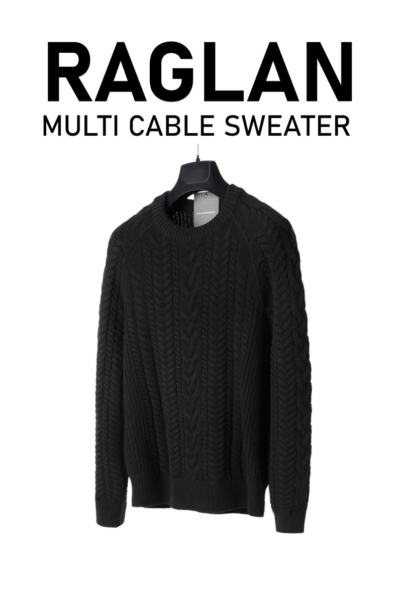 Raglan Multi Cable Sweater-Black
