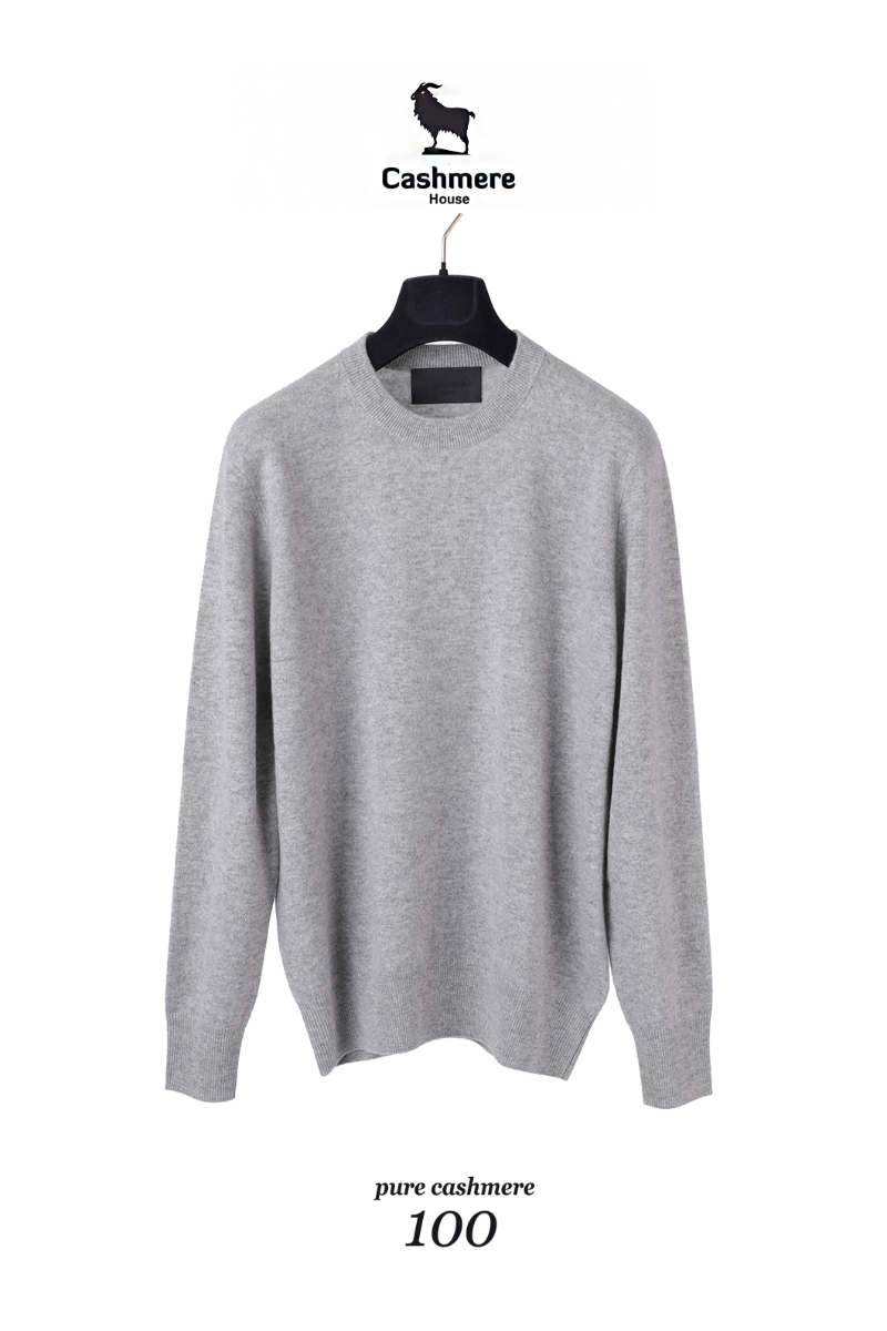 560 Pure Cashmere 100% Round Knit-Light Gray