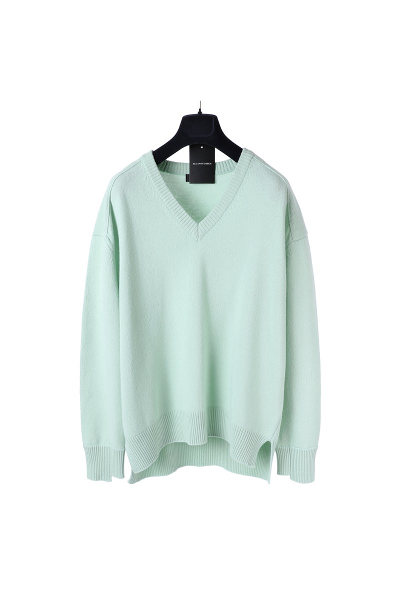 Wool 100% Unbalanced Cuff Over Vneck Sweater- Mint