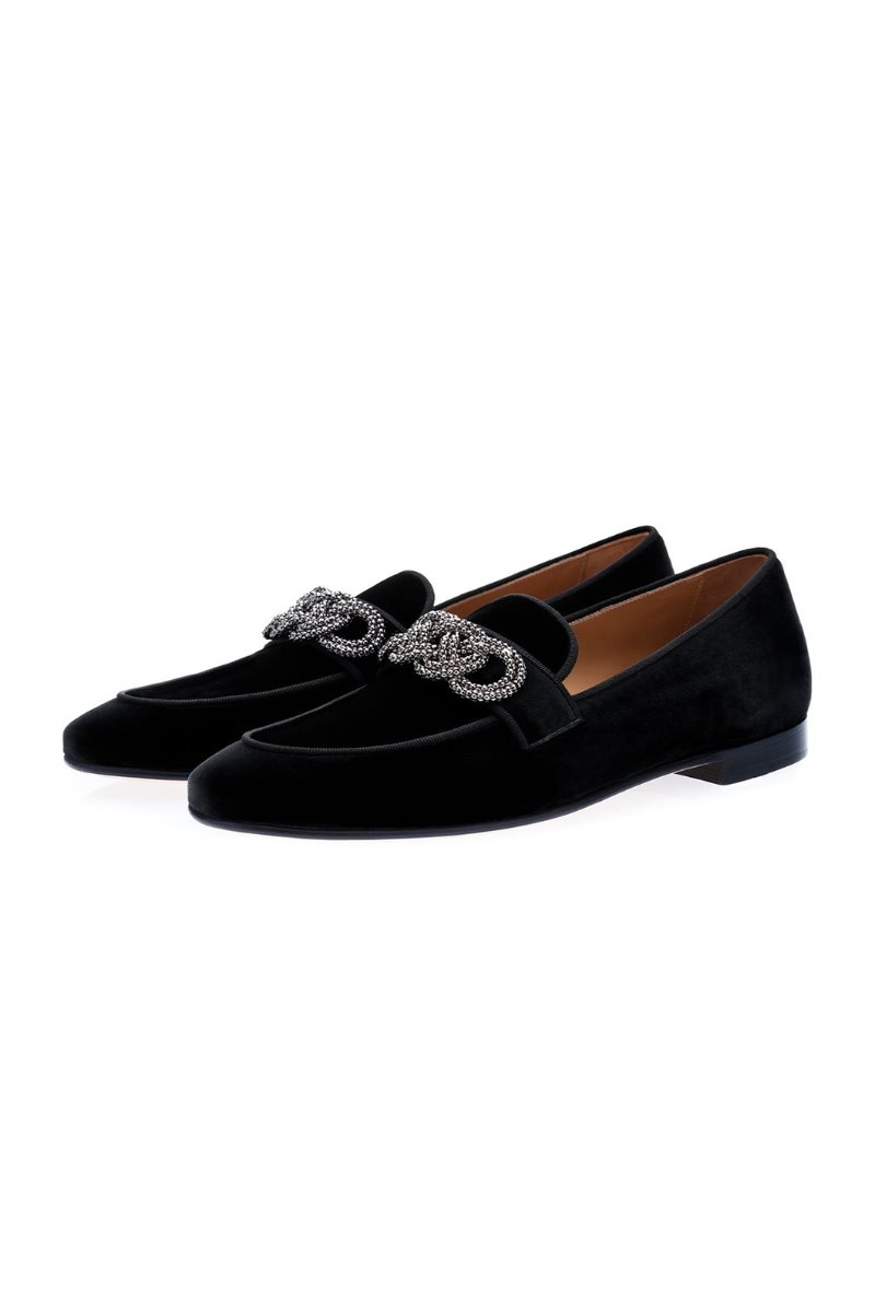 MOROSINO VELOUR BLACK SLIPPERS