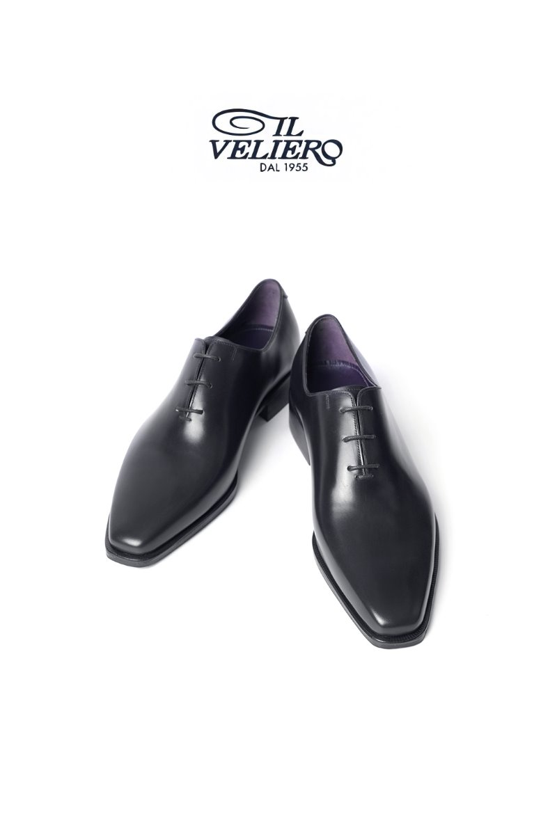 564 Artisan ITALY ILVELIERO Plain Toe Shoes-Black