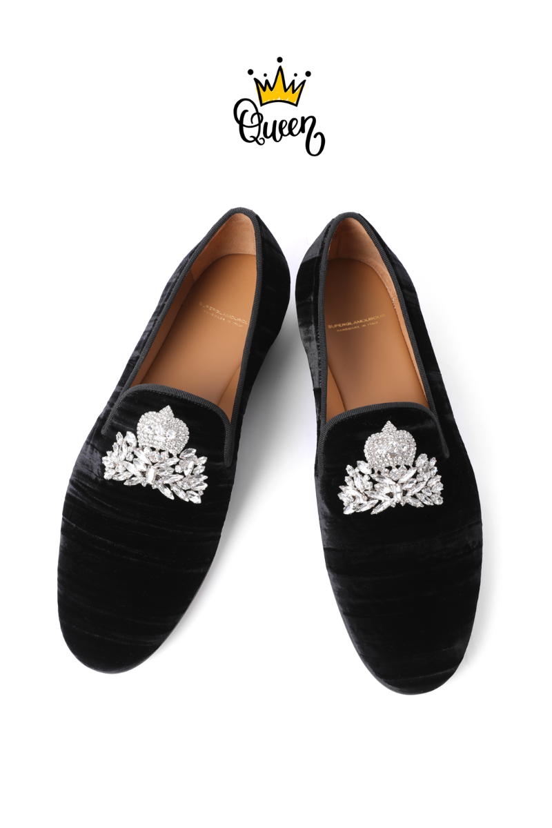 CROWN CRYSTAL BROOCH VELOUR SHOES-BLACK