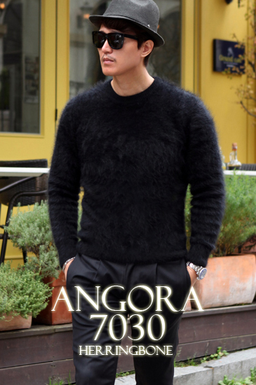 Take232 ANGORA7030 HERRINGBONE premium round knit/black